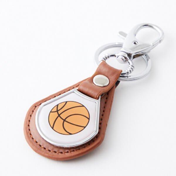 クールで便利 バスケットボール柄のフック合革キーホルダー 1個