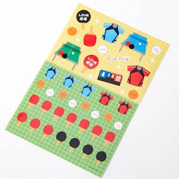 卓球グッズグッズ セットがお得 はがきサイズのオリジナルスポーツシール 卓球 単価78円〜