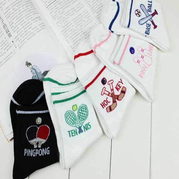 卓球ラケット柄の子供用ソックス(靴下) ブラック1足【画像6】