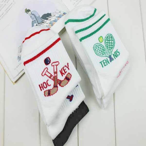 テニスグッズ・テニスラケット柄の可愛いソックス(子供用靴下)1足