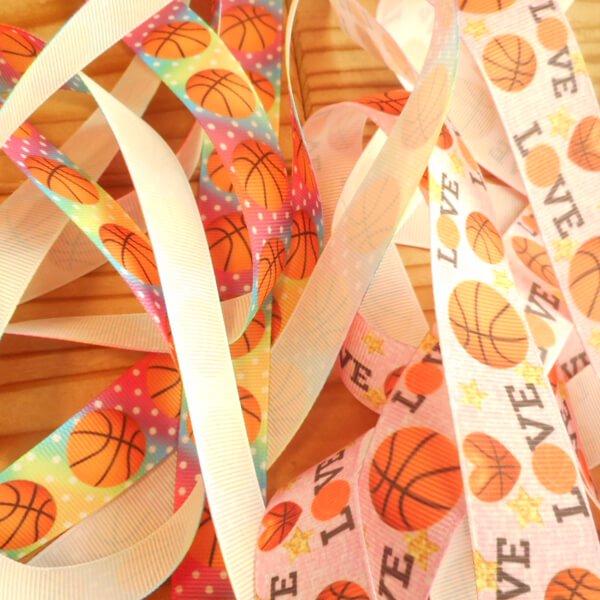 バスケットボール柄のラッピング用リボン(約5メートル)  1柄