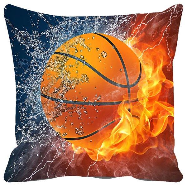 炎と水しぶきがカッコいい「バスケットボールのクッションカバー」