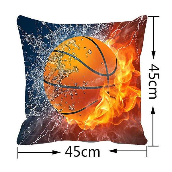 炎と水しぶきがカッコいい「バスケットボールのクッションカバー」【画像2】