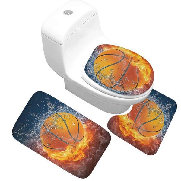 炎と水しぶきがカッコいいバスケットボール柄 トイレ3点セット