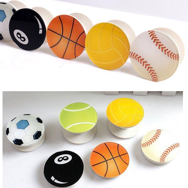 バスケットボールタイプ スマホスタンドにできるイヤホンコード巻き【画像3】