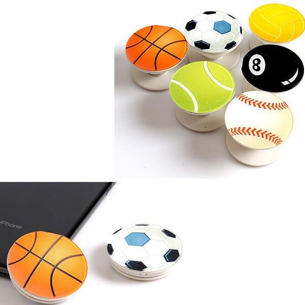 バスケットボールタイプ スマホスタンドにできるイヤホンコード巻き【画像4】