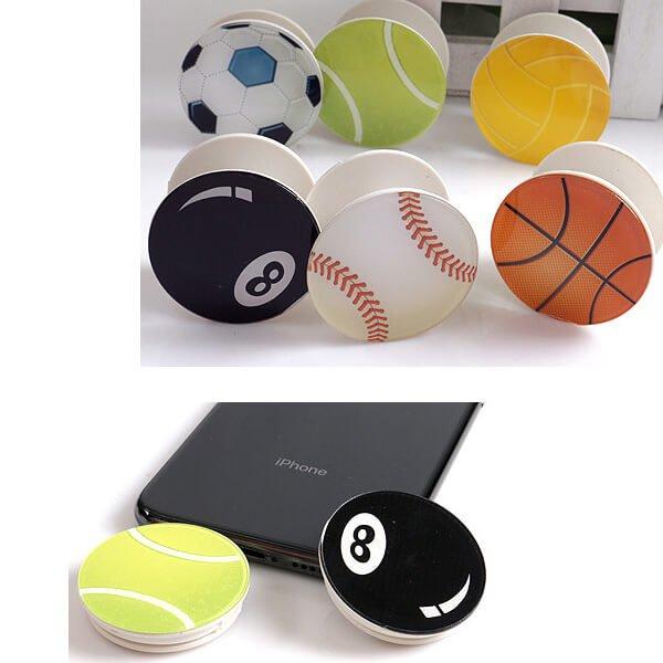 バスケットボールタイプ スマホスタンドにできるイヤホンコード巻き【画像5】