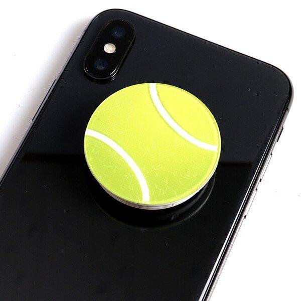 テニスボールタイプ スマホスタンドにできるイヤホンコード巻き