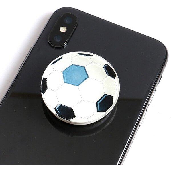 サッカーボールタイプ スマホスタンドにできるイヤホンコード巻き
