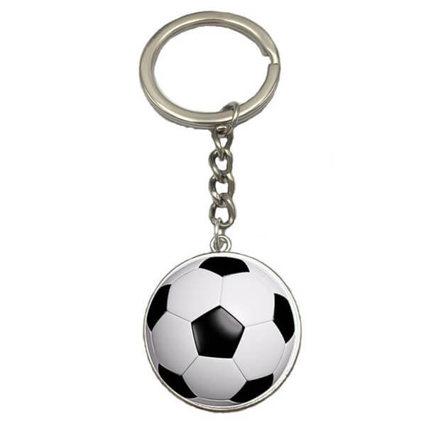 サッカーボールのクリスタルフラットキーホルダー