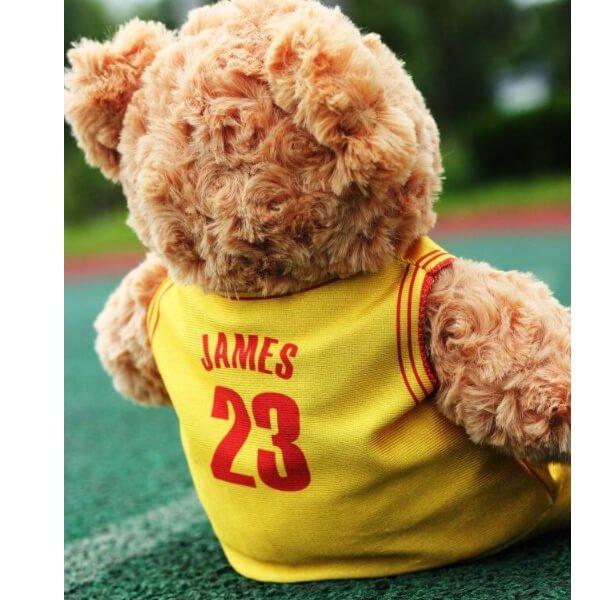 可愛いバスケユニフォームを着たクマのぬいぐるみ【画像4】