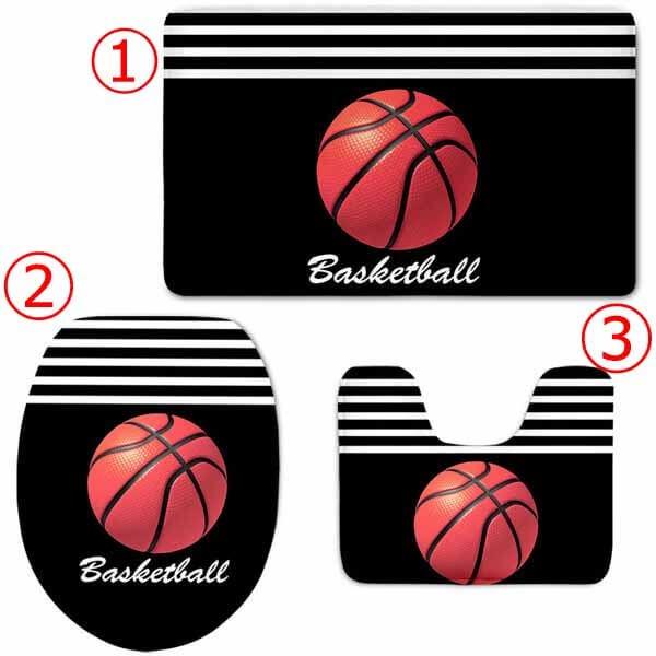 オシャレなバスケットボール柄のトイレカバー3点セット【画像3】