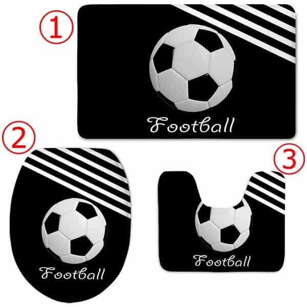 オシャレなサッカーボール柄のトイレカバー3点セット【画像3】
