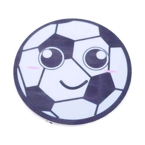 サッカーボールフェイス柄の可愛いミニラバーコースター