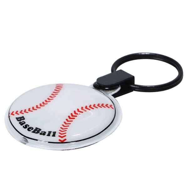 野球ボール型のフラットライトキーホルダー 単価184円〜