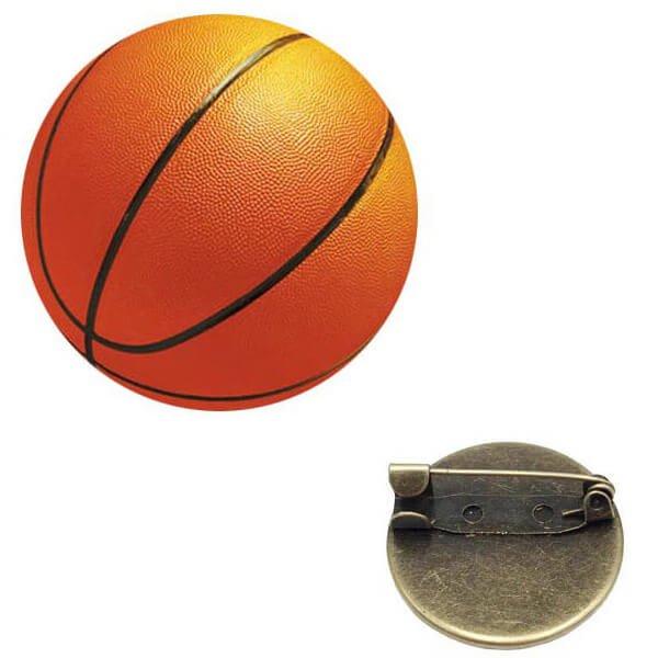 バスケットボールのクリスタルフラットピンバッチ 1個