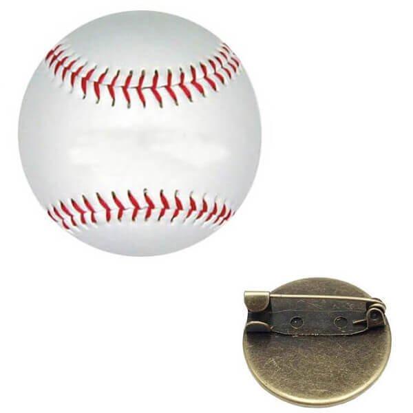 野球ボールのクリスタルフラットピンバッチ 1個