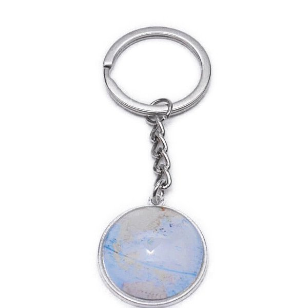 美しいクリスタルフラットタイプ 地球儀キーホルダー