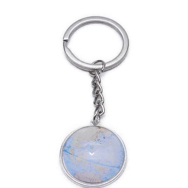 割引販売 美しいクリスタルフラットタイプ 地球儀キーホルダー