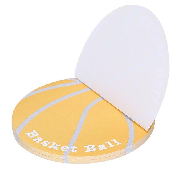 バスケットボール型のオリジナル付箋メモ(薄いオレンジ・灰色) 約48枚綴り【画像2】