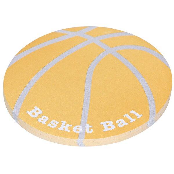 バスケットボール型のオリジナル付箋メモ(薄いオレンジ・灰色) 約48枚綴り【画像3】