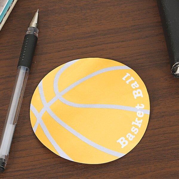 バスケットボール型のオリジナル付箋メモ(薄いオレンジ・灰色) 約48枚綴り【画像4】