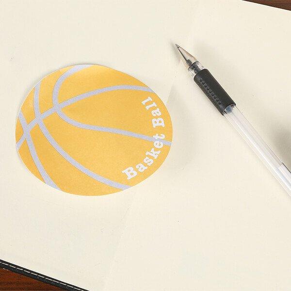 バスケットボール型のオリジナル付箋メモ(薄いオレンジ・灰色) 約48枚綴り【画像5】