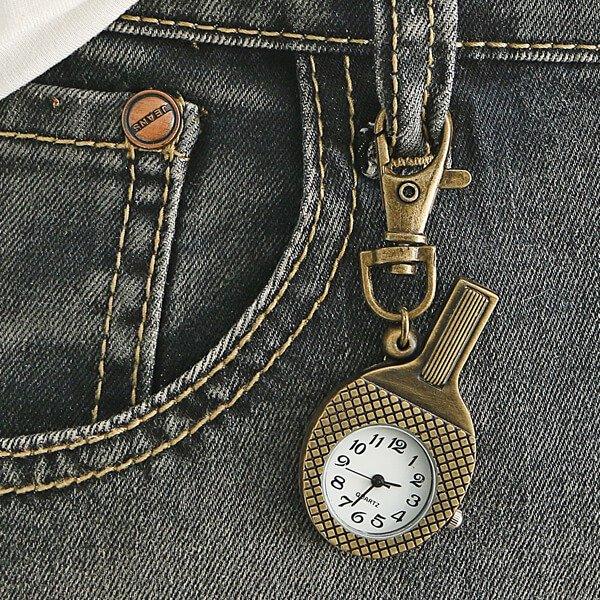 卓球ラケット型のレトロ懐中時計【画像4】