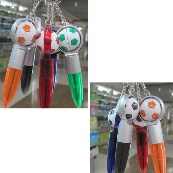 (ボール汚れあり)サッカーボール付きの可愛いミニボールペンキーホルダー(黒インク)1本【画像6】