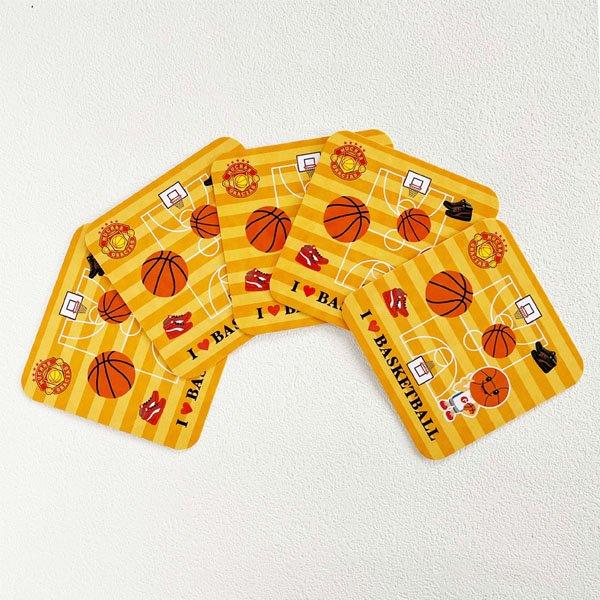 卒業期間限定セール  バスケットボール柄のオリジナル厚紙コースター 5枚セット【画像2】