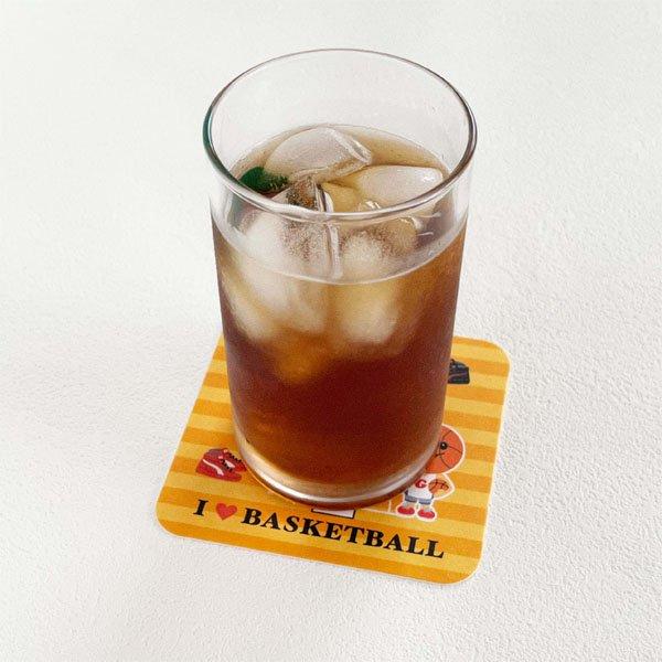 卒業期間限定セール  バスケットボール柄のオリジナル厚紙コースター 5枚セット【画像3】