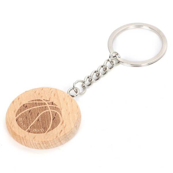 木製のオリジナルキーホルダー バスケットボール柄 1個