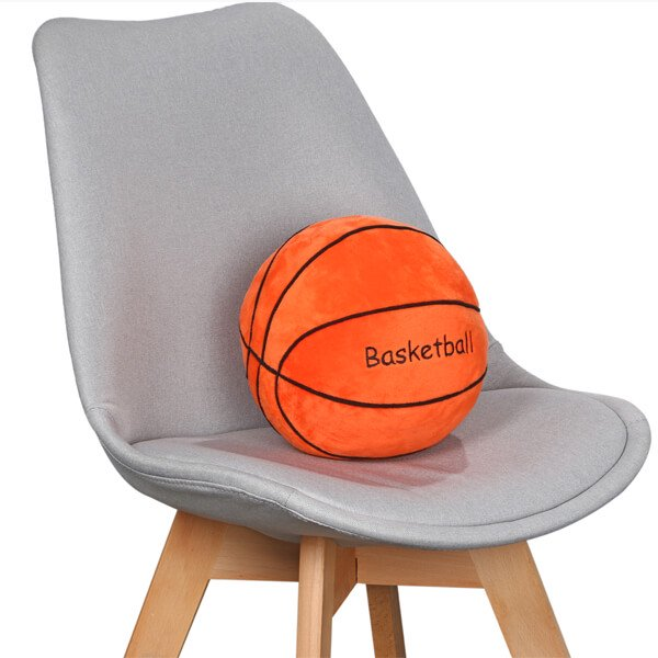 バスケットボール型 やわらかクッション枕(濃いオレンジ)【画像3】