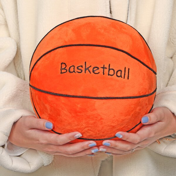 バスケットボール型 やわらかクッション枕(濃いオレンジ)【画像4】
