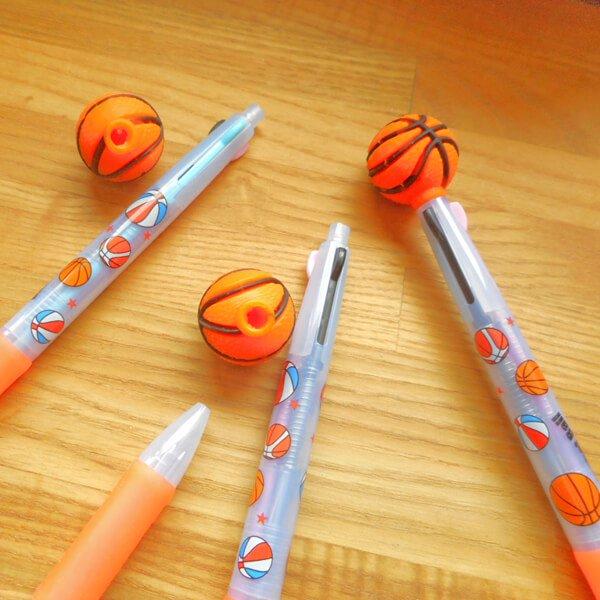 セットがお得 バスケットボール付き 可愛いバスケ柄のオリジナル3色ボールペン 単価158円〜【画像8】