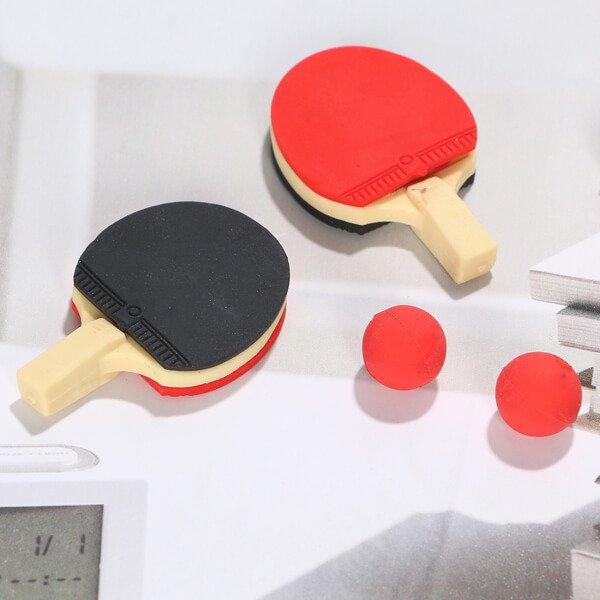 ボール付きの卓球ラケット消しゴム (ラバー赤・黒)