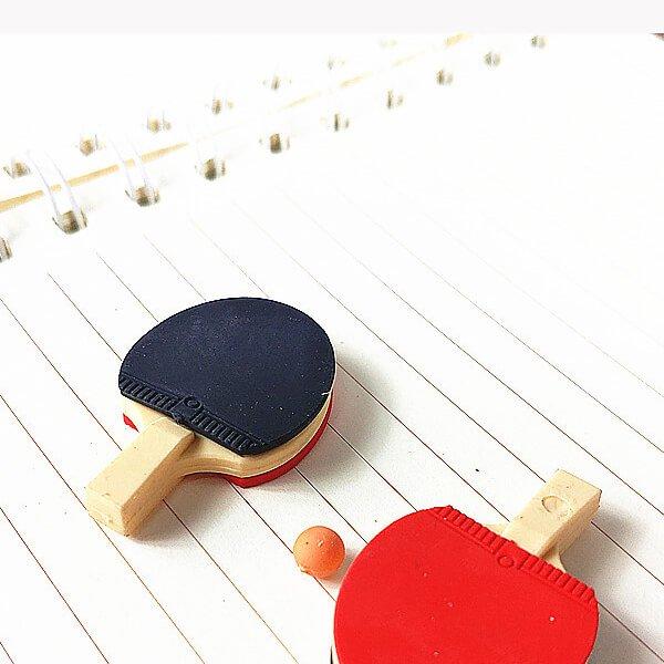 ボール付きの卓球ラケット消しゴム (ラバー赤・黒)【画像2】