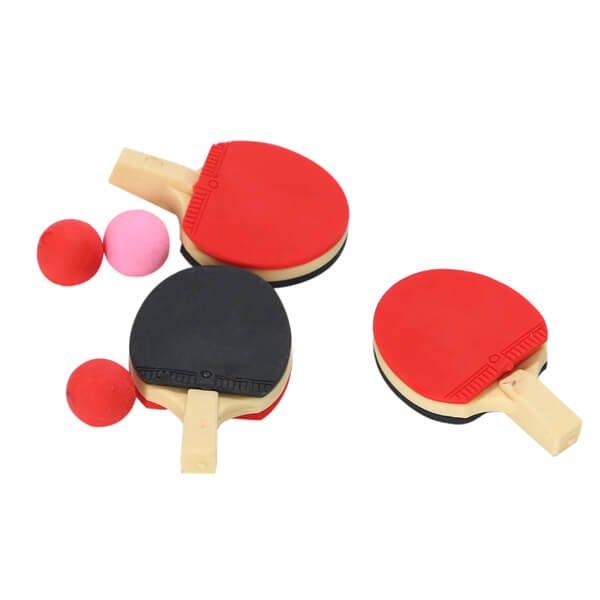 ボール付きの卓球ラケット消しゴム (ラバー赤・黒)【画像3】