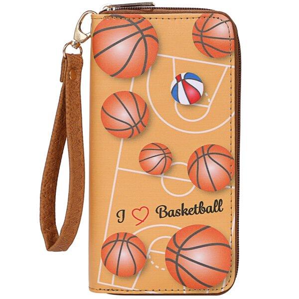 オリジナルバスケットボール柄 フック付きPUレザー財布