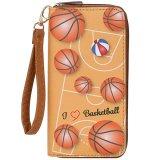 便利なPUレザー財布 オリジナルバスケ柄