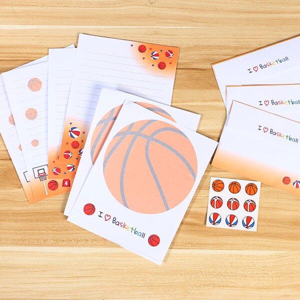 バスケットボール柄のオリジナルレターセット(封筒3枚:便箋6枚:ボールシール9個分)
