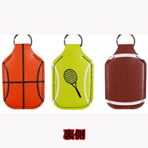 テニスボール柄 フック付き携帯消毒液ホルダー【画像2】