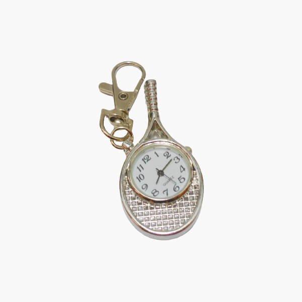 フック付きテニスラケット型懐中時計(シルバー)