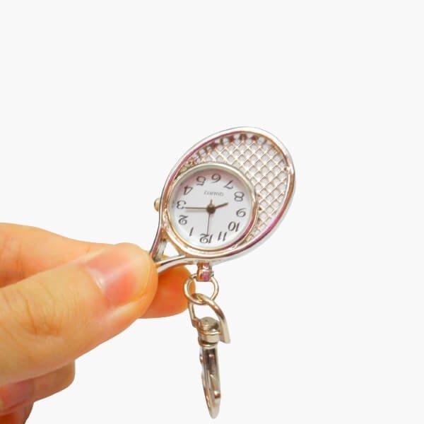 フック付きテニスラケット型懐中時計(シルバー)【画像2】