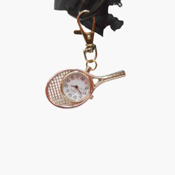 フック付きテニスラケット型懐中時計(シルバー)【画像3】