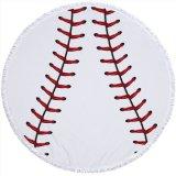 野球のボールグッズ・雑貨  大きい野球ボールみたいな丸型ビーチタオル