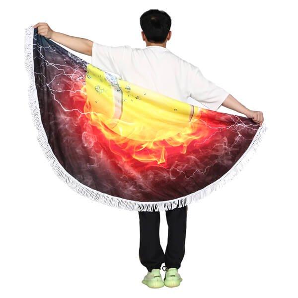 テニスボール柄のユニークな丸型ビーチタオル【画像4】