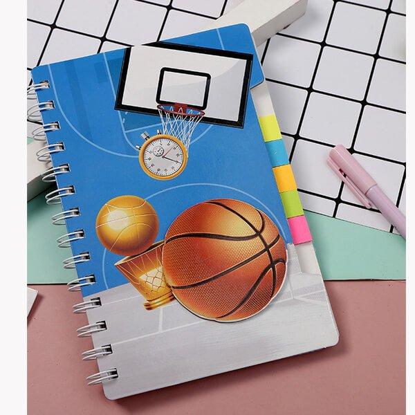 (割引販売) ポップなバスケ柄 ふせん付きリングノート