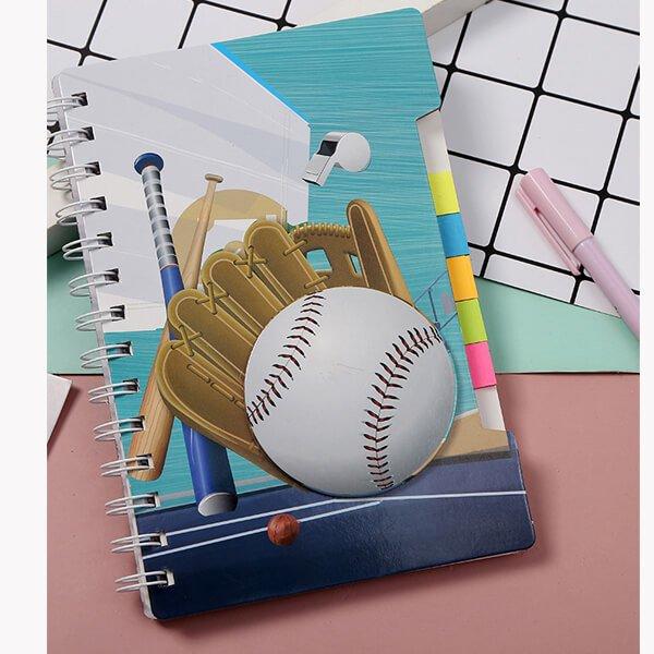 (割引販売) ポップな野球柄 ふせん付きリングノート
