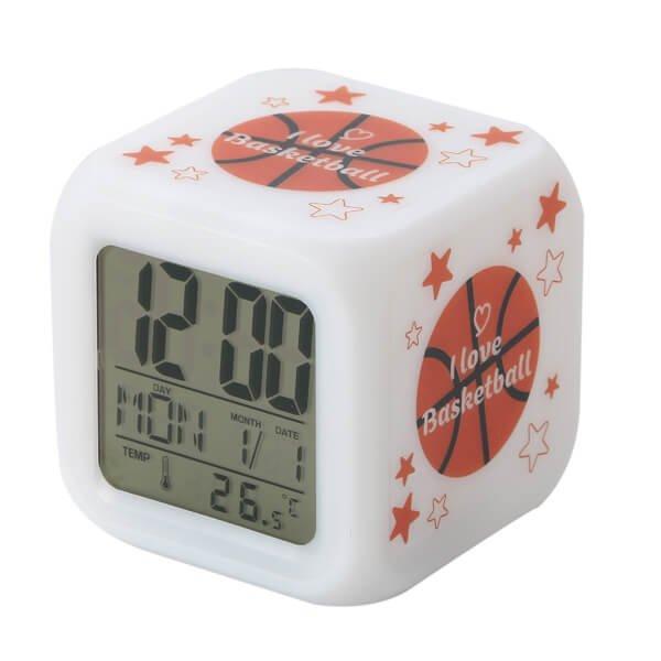 イルミネーション置き時計 ポップなバスケ柄 (スヌーズ機能付き)【画像2】